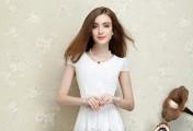 黑与白,蕾丝短袖连衣裙