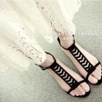 脚底莲花,大牌范,罗马风真皮网纱平底凉鞋