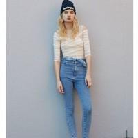 SNIDEL品牌,杂志同款,蝴蝶结高腰牛仔裤