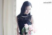 黑色也能小清新,欧根纱蓬蓬连衣裙