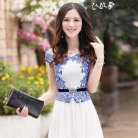 优雅在于不断的追求,青花瓷短袖连衣裙