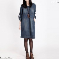 牛仔长袖连衣裙,复古磨白秋季新品