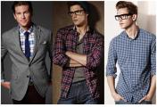 必备的男装单品有哪些?(十一)格纹衬衫 翻领开襟羊毛衫