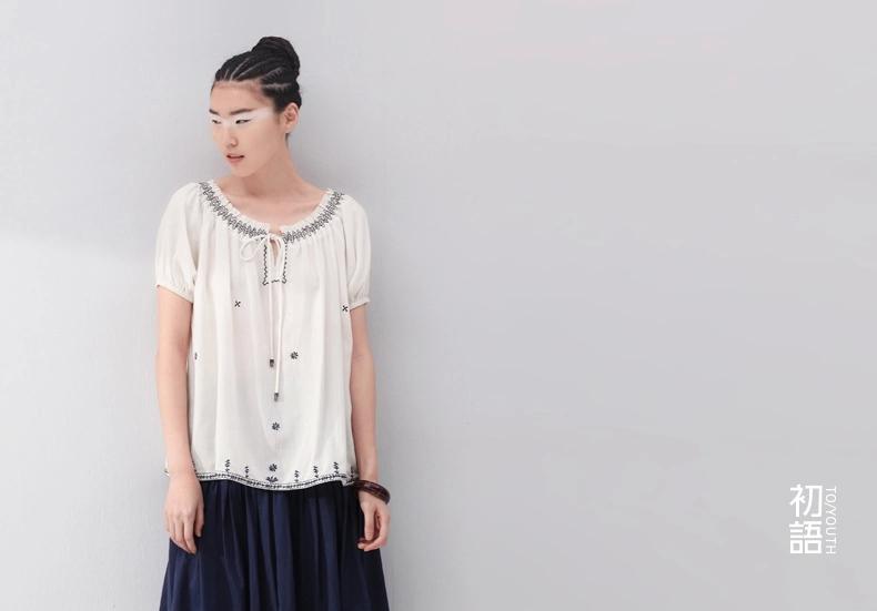 民族风刺绣短袖衬衫