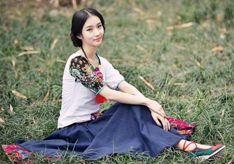 民族风棉麻印花半身裙