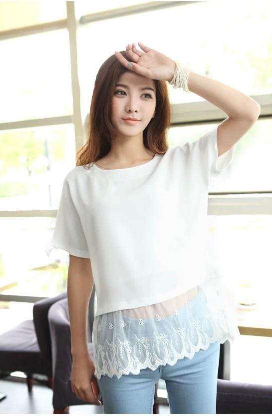 蕾丝短袖T恤