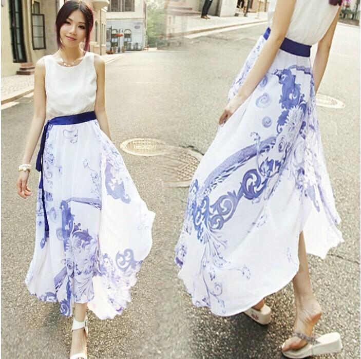 青花瓷无袖不规则连衣裙