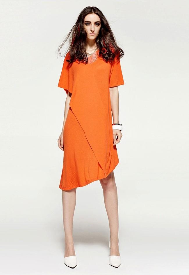莫代尔棉纯色连衣裙
