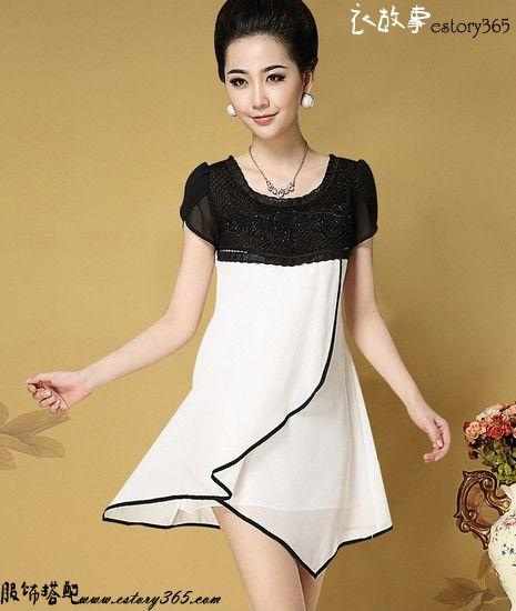 黑与白蕾丝拼接连衣裙