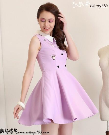 娃娃领钉珠背心连衣裙