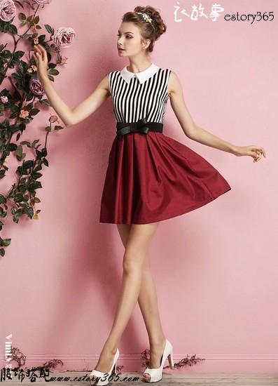 娃娃领条纹拼接连衣裙