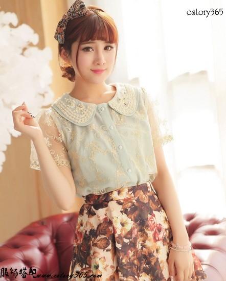 珍珠欧根纱蕾丝衬衫