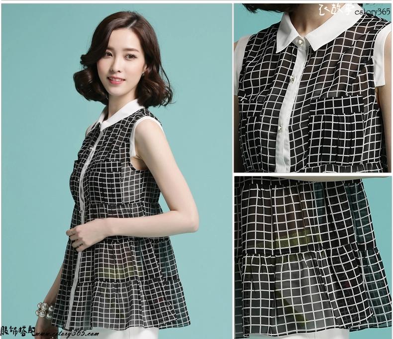 韩版黑白格子衬衣