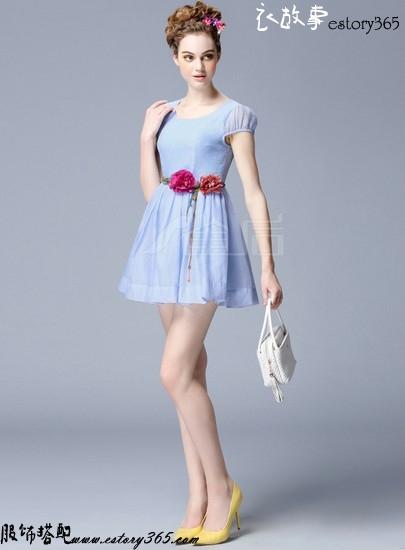 复古欧根纱花朵腰带连衣裙