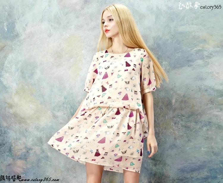 趣味印花连衣裙