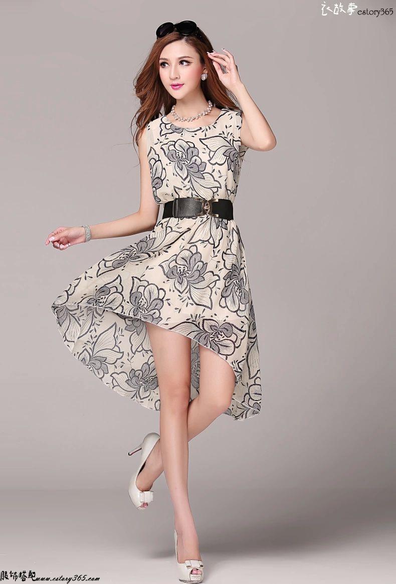 无袖印花连衣裙