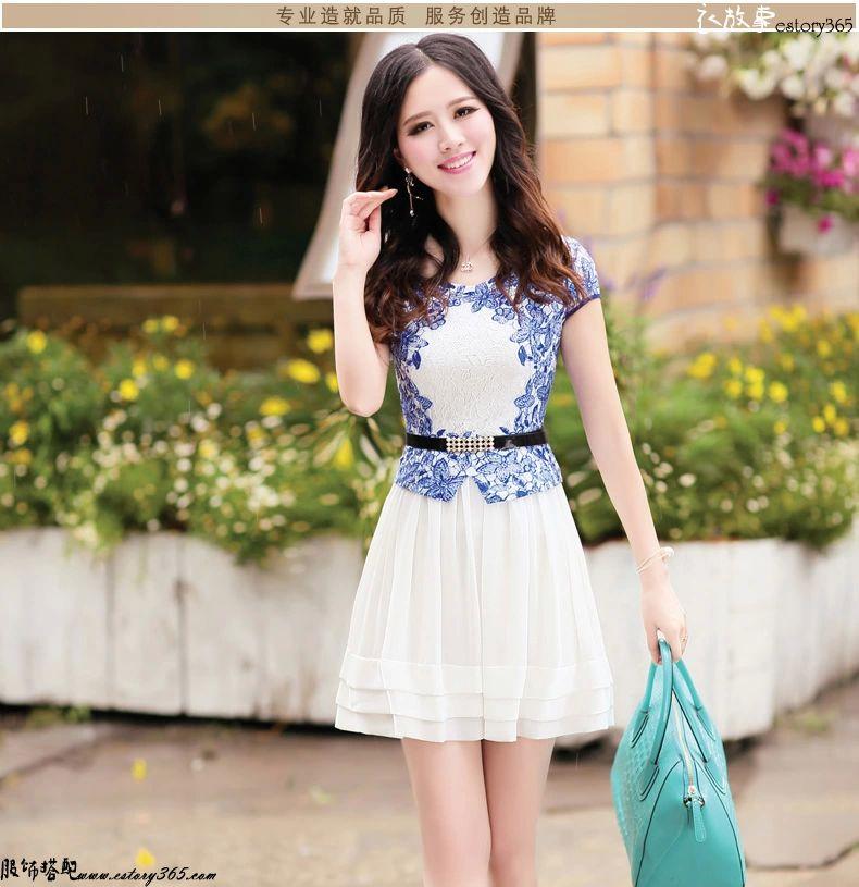 青花瓷短袖连衣裙