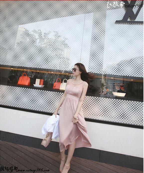 透视高腰连衣裙