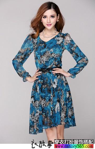 印花雪纺中袖连衣裙