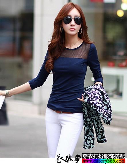 纯棉网纱长袖T恤