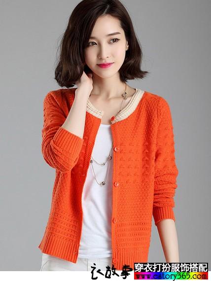 长袖圆领羊毛针织衫