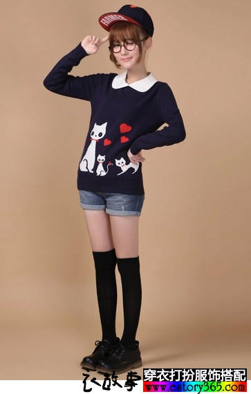 猫咪图案娃娃领套头毛衣