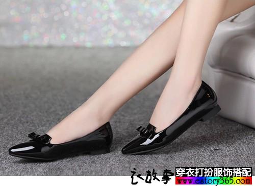 蝴蝶结浅口平跟鞋