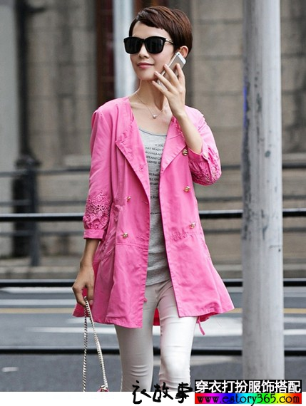 蕾丝灯笼袖风衣