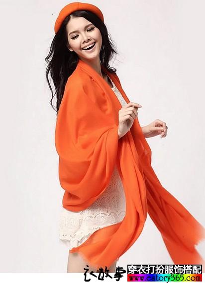 橘色羊绒两用围巾披肩