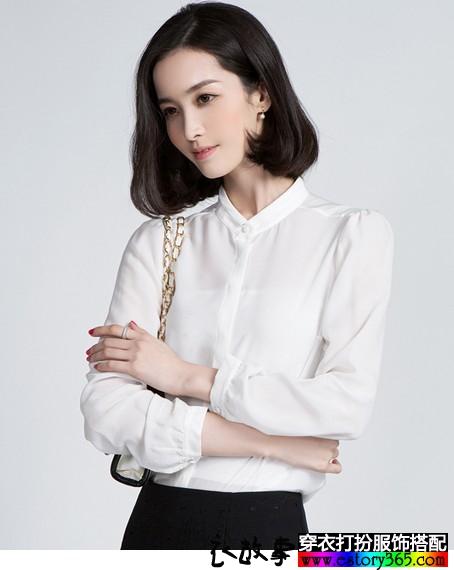 白色长袖雪纺衬衫
