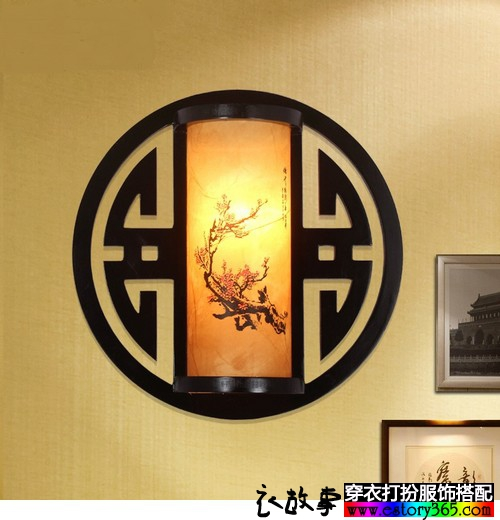 水墨印花木质古风壁灯