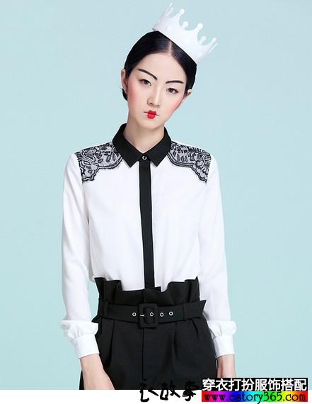 黑白两色雪纺蕾丝边衬衫