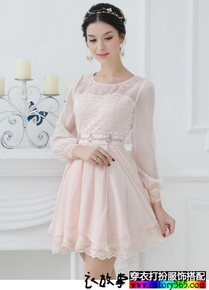 气质淑女纯色长袖连衣裙