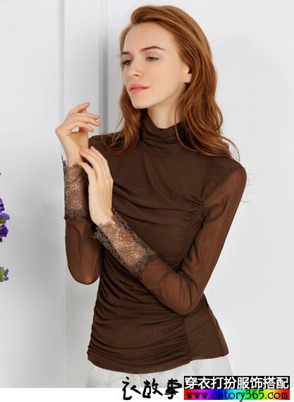 蕾丝花边褶皱高领衫