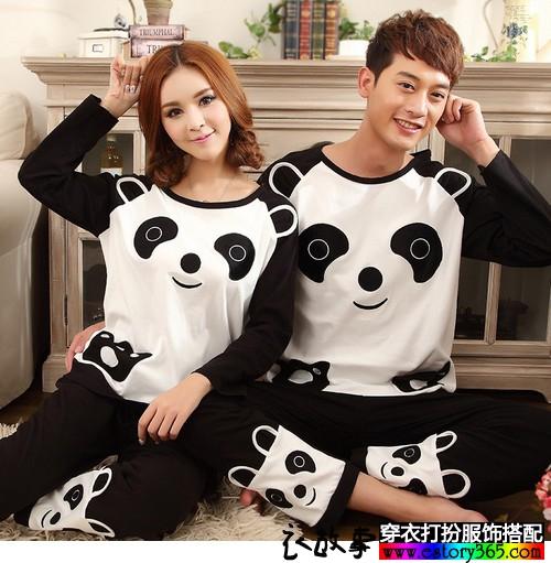 纯棉立体熊猫长袖睡衣
