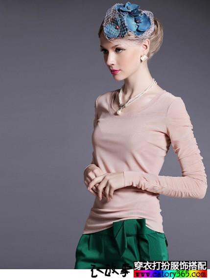 纯色拼接网纱T恤