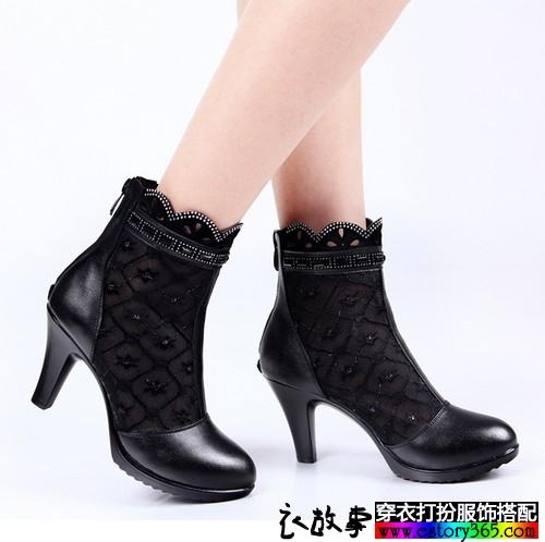 蕾丝网纱高跟踝靴