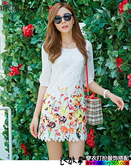 蕾丝印花长袖连衣裙