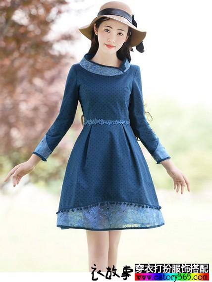 蕾丝拼接收腰长袖连衣裙