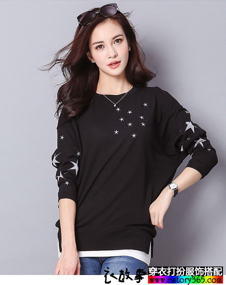 星星图案宽松长袖T恤