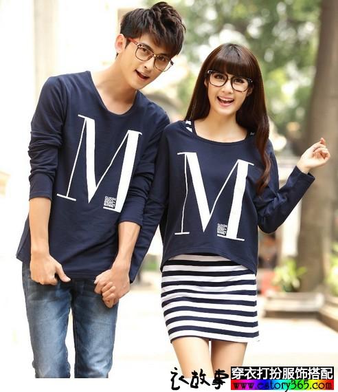 情侣两件套T恤+连衣裙