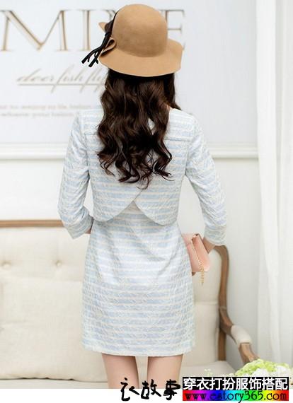 假两件高腰蕾丝长袖连衣裙