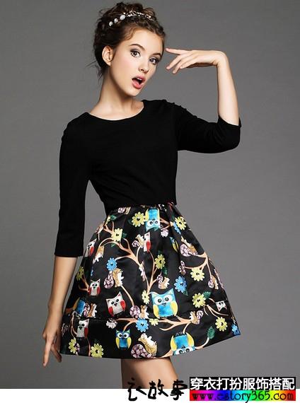 撞色印花打底长袖连衣裙