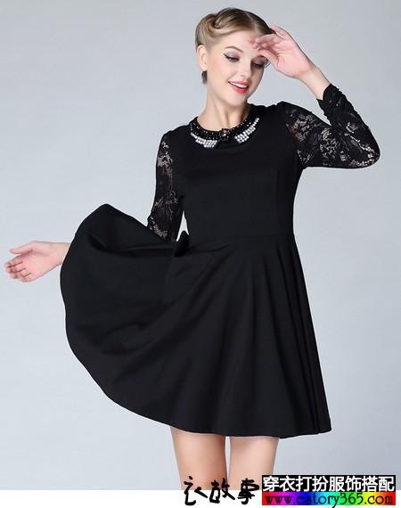 蕾丝镶钻针织长袖连衣裙