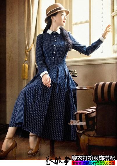 高腰大摆复古长袖连衣裙