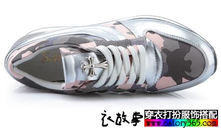 厚底系带内增高休闲运动鞋