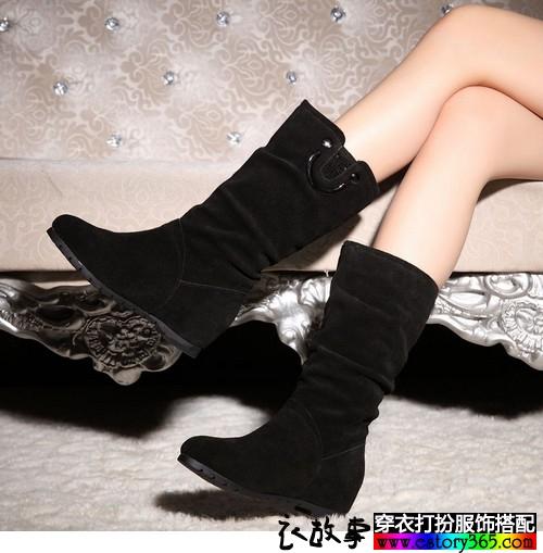 磨砂皮内增高中筒靴