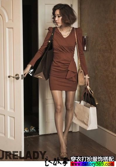 泡泡袖包臀铅笔裙