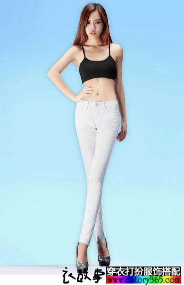 白色修身牛仔小脚裤