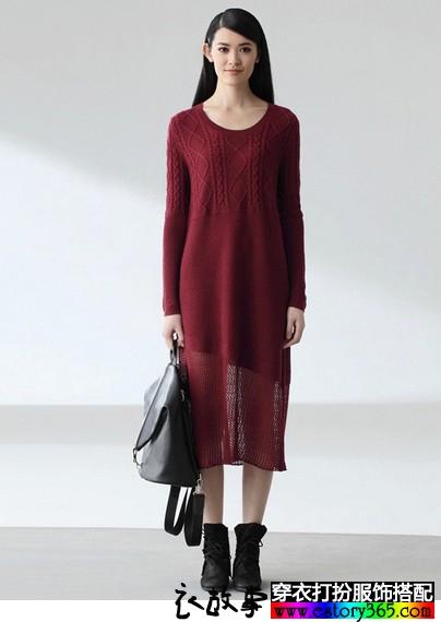羊毛混纺斜开下摆长袖连衣裙